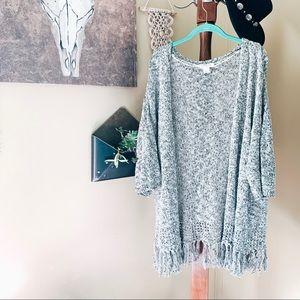 LOFT lounge • fringe speckled cardigan